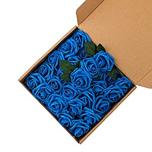 UNISS 25pcs Artificial Flowers Fake Roses with Stem and Leaf for Wedding Home Decorations 21