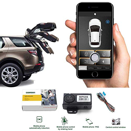 Auto Smartphone Remote Control Locking Kit,Smart Key 2 Way Lgnition Trunk Control/Unlock Shaking Hand Mobile Phone APP Keyless Entry Car Alarm System (Car Remote Starter Installation)