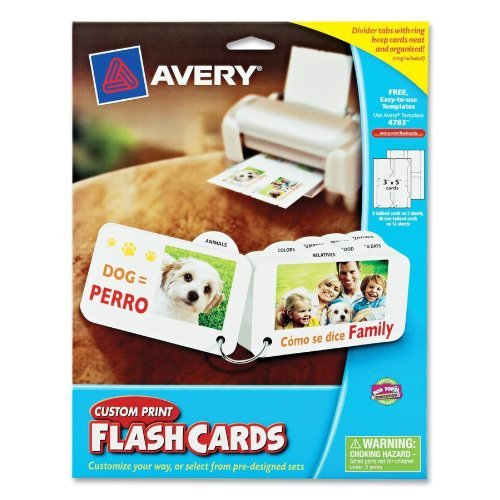 (Avery Custom Print Flash Cards with Divider Tabs 3 x 5 Inches)