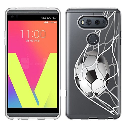 URAKKI Case TPU Clear Slim Fit Soft Skin Phone Cover Compatible with LG V20 (2016) [ Soccer Goal ] Design Case