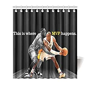 Colorful Design Polyester(Fabric) Shower Curtain 66inch(w) 72inch(h) with Hooks and Holes[Cool Basketball]