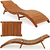Deuba Wooden Sun lounger - ergonomic sun deck foldable lounger with headrest -foldable