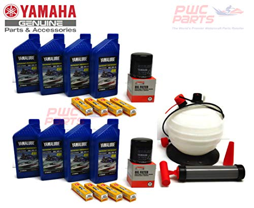 YAMAHA 24' Boat OEM Oil Change Kit w/NGK Spark Plug Set- Jet Boat 4W Yamalube w/ 69J-13440-03-00 Filters for 2010+ AR240 SX240 HO/ 242 LIMITED/S/E-SERIES/ 242X/ 212SS/ 212X w/Oil Extractor Pump