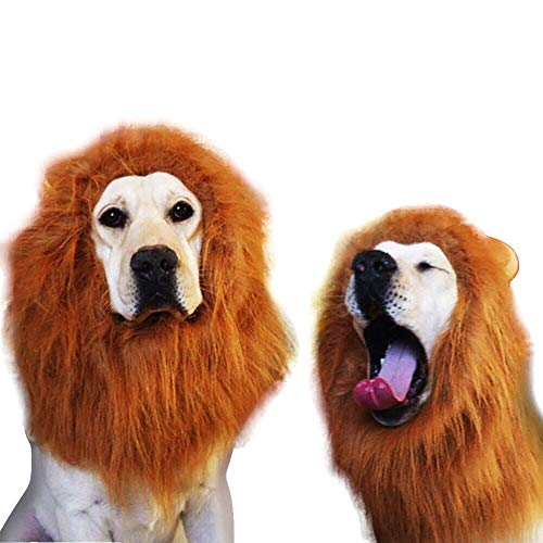 Fake Lion Mane for Dog Costume With Gift Lion Wig Make Your Dog Lion King Comfortable Fancy Lion Hair Dog Clothes Dress for Party Big Pet Dog Lion Mane Wig, Tail, Festive Party Gorgeous (Coffee, L)