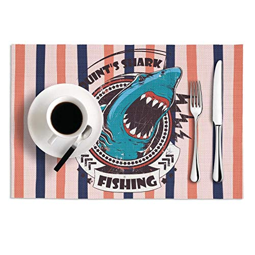 - Quinnteens Washable Table Mats Quint's Shark Fishing Non-Slip Insulation Placemat (2pcs placemats,12x18 inch)
