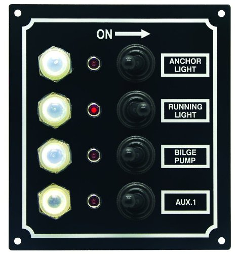 Invincible Marine LED 4-Switch Panel with Breaker and Booted Toggle Switches ()