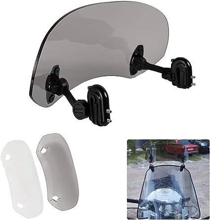Justech Parabrisas Ajustable de la Motocicleta Deflector de Viento del Aler/ón de la Extensi/ón del Parabrisas-Claro