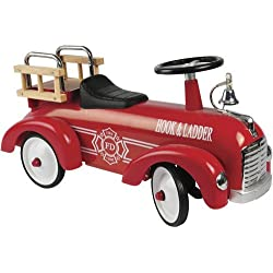 Constructive Playthings ATB-89 Hook and Ladder Steel Fire Truck Ride-On Car for Toddlers, Features Food-Powered Motion, Easy-Steering Wheel