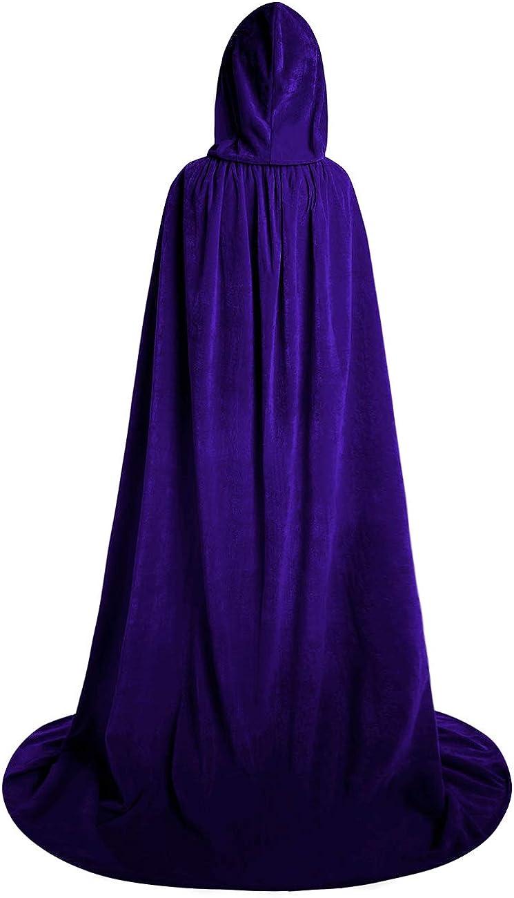 AOFITEE Halloween Velvet Full Length Hooded Robe Cloak Cosplay Costume Cape