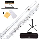Mendini by Cecilio Silver Plated Open Hole C Flute with Italian Pads, Stand
