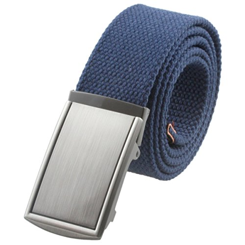 Moonsix Canvas Web Belts for Men,Solid Color Military Style Belt Buckle ,Navy (Navy Canvas Belt)