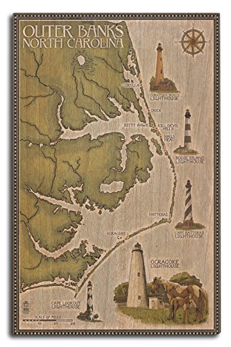 Lantern Press Outer Banks, North Carolina - Lighthouse and Town Map (10x15 Wood Wall Sign, Wall Decor Ready to Hang)