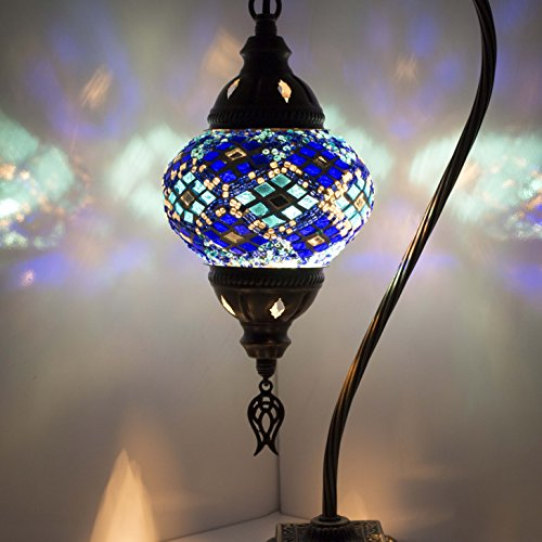 Mosaic Lamp-Handmade Turkish Mosaic Table Lamp with Mosaic Lantern,Bronze Base,Unique Table Lamp for Room Decoration (Tile Bronze Lantern)