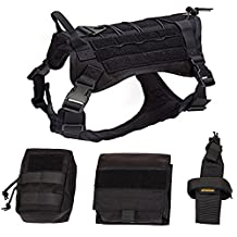 Pettom Service Tactical Dog Harnes Molle Vest Military Army Dog Outdoor Hiking Backpack with Detachable Pouches Patch (L (Girth: 29-38in ), Black)