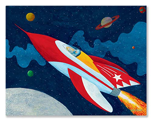 Oopsy Daisy Rocket Man Stretched Canvas Wall Art by Max Grover, 18 by 14-Inch