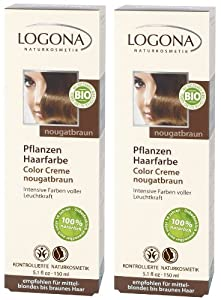 logona color creme nougat brown henna hair colour powder pack of 2 x 150 ml - Logona Color Creme