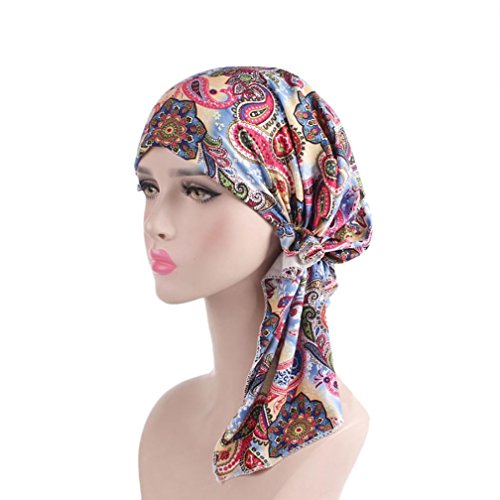 Litetao Clearance Chemo Cancer Cap Women India Muslim Elastic Turban Floral Long Tail Hat Head Scarf Wrap (Free Size, E)