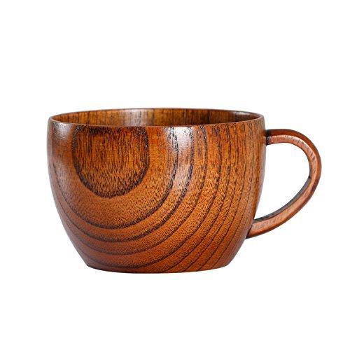 (Geeklife Jujube Wood Coffee Mug,Japanese Wooden Tea Cup, Brown 230 ml)