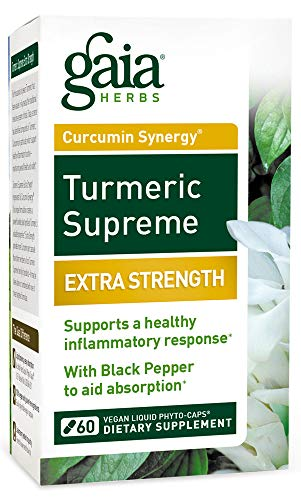 Gaia Herbs Turmeric Supreme Extra Strength, Vegan Liquid Capsules, 60 Count – Turmeric Curcumin Supplement with Black Pepper for Daily Joint Support, Healthy Inflammatory Response and Overall Vitality