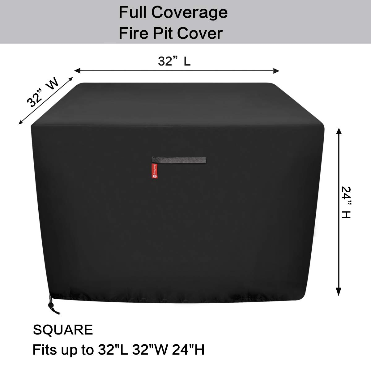 SheeChung Gas Fire Pit Cover Square Premium Patio Outdoor Cover Durable and 100/% Waterproof,Fits for 30 inch,31 inch,32 inch Fire Pit//Table Cover,Black Square 32 L x 32 W x 24 H