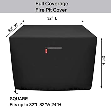"""SheeChung Gas Fire Pit Cover Square - Premium Patio Outdoor Cover Durable and 100% Waterproof,Fits for 30 inch,31 inch,32 inch Fire Pit/Table Cover,Black (Square 32"""" L x 32"""" W x 24"""" H)"""