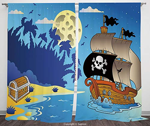 Rod Pocket Curtain Panel Polyester Translucent Curtains for Bedroom Living Room Dorm Kitchen Cafe/2 Curtain Panels/108 x 84 Inch/Pirate,Buccaneer Adventure Antique Ship Deserted Tropical Island Chest
