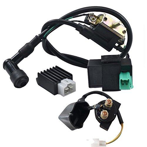 ZXTDR Ignition Coil CDI Regulator Rectifier Starter Relay Solenoid Kit for 50 70 90 110 125cc ATV Quad Scooter ()