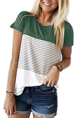 Smalnnie Casual Triple Color Block Stripe Tshirts For Women Irregular Hem Tee Top Green S - Triple Block