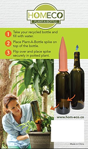 Plant-A-Bottle (Set of 4 Indoor Plant Watering Devices) Vacation Plant Watering,NEW IMPROVED PACKAGING Water Plants and Recycle Bottles - Drip Irrigation Spikes, House Plant Self Watering System