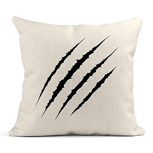 Emvency Throw Pillow Cover Print Linen Square 18x18 Inches Hidden Zipper Mark Traces of Claw Scratches Bear Paw Scratch Pillowcase one Side Design Home Sofa Decor ()