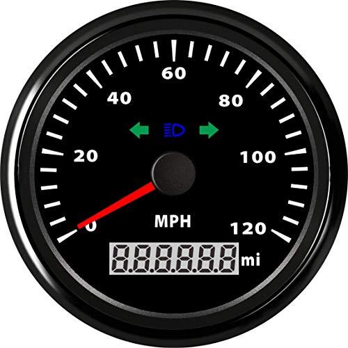 (Samdo 85mm Odometer GPS Speedometer Speed Gauge Turning Lamp High Beam Lamp 120 Mp/h Mph Car Truck Vehicle)