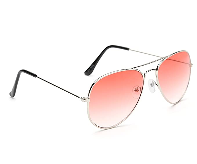54b7f56d3d Image Unavailable. Image not available for. Colour  Gansta UV Protected  Silver With Gradient Orange Lens Aviator Sunglasses for Men Women ...