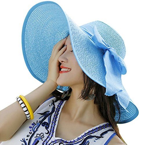 Lanzom Womens Big Bowknot Straw Hat Floppy Foldable Roll up Beach Cap Sun Hat UPF 50+ (Sky Blue)