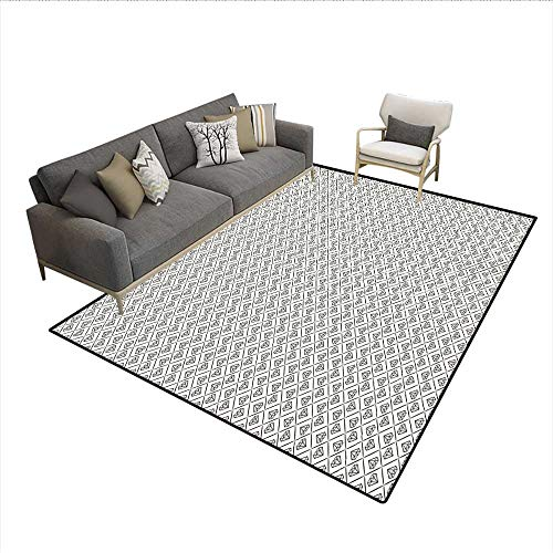 Carpet,Rhombus Pattern in Classical Crystal Stones Composition Abstract Illustration,Indoor Outdoor Rug,Ivory Black 6'6