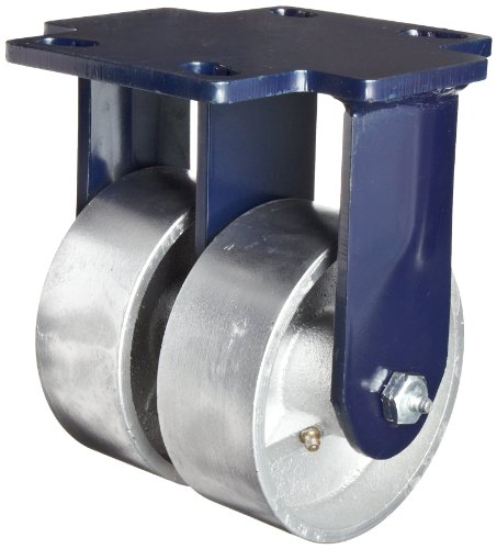 RWM Casters 76 Series Plate Caster, Rigid, Kingpinless, Urethane on Iron Wheel, Roller Bearing, 2000 lbs Capacity, 8