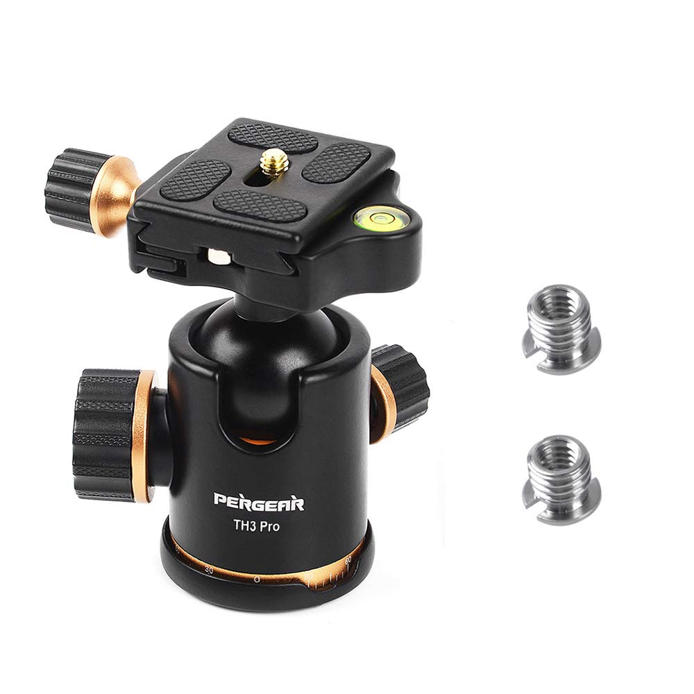 Pergear TH3 Pro DSLR Camera Tripod Ball Head, 8KG/17.6lbs Loading Capacity, 360 Degree Swivel, Metal Build Quality, Fine Tuning Damping, U-Shaped Groove Design for Easy Switching Into Vertical Mode