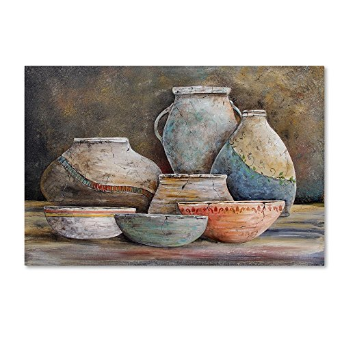 (Clay Pottery Still Life 1 by Jean Plout, 16x24-Inch Canvas Wall Art)