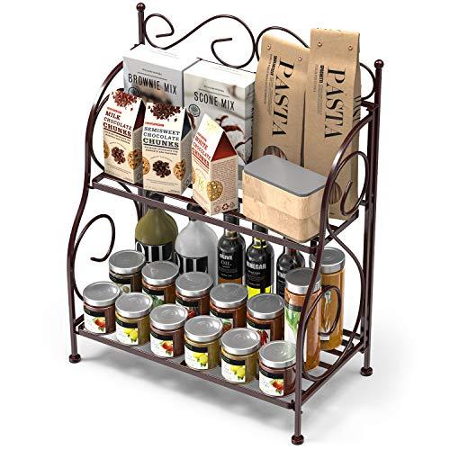 Packism Storage Rack, 2 Tier Bathroom Organizer Foldable Spice Rack for Kitchen Countertop Jars Storage Organizer Counter Shelf, Bronze -