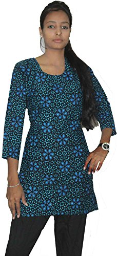 Indian-Black-Blue-Color-Tunic-Top-Kurta-Women-Ethnic-Kurti-plus-size-Floral-Print-100-Cotton-Large