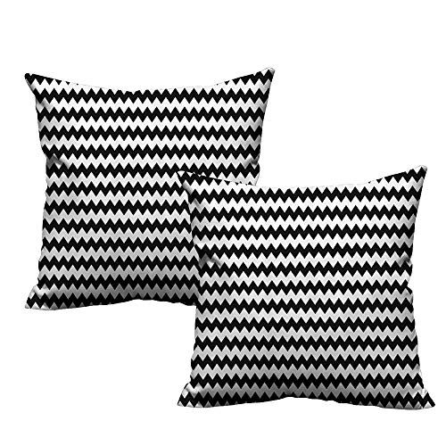 (Fashion Custom Pillowcases,Chevron,Zig Zags in Black and White Sharp Arrow Inspired Classic Retro Tile Monochrome,Black White 18