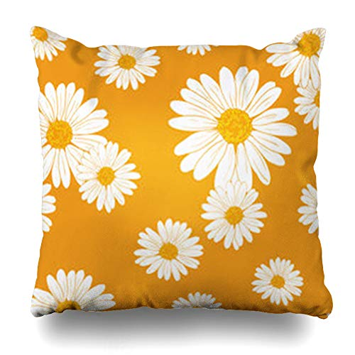 low Covers Chamomile Daisy Floral Pattern Abstract Garden Sketch Beach Home Decor Sofa Cushion Cases Square Size 20 x 20 Inches Pillowcase ()