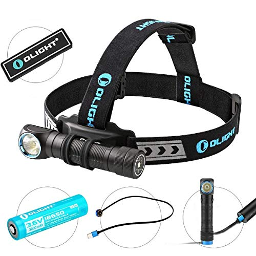 OLIGHT Bundle H2R Cree LED Up to 2300 lumens Rechargeable Headlamp Flashlight Customized Battery - Magnetic USB Charging Cable- Headband - Clip and Mount Patch (Cool White)