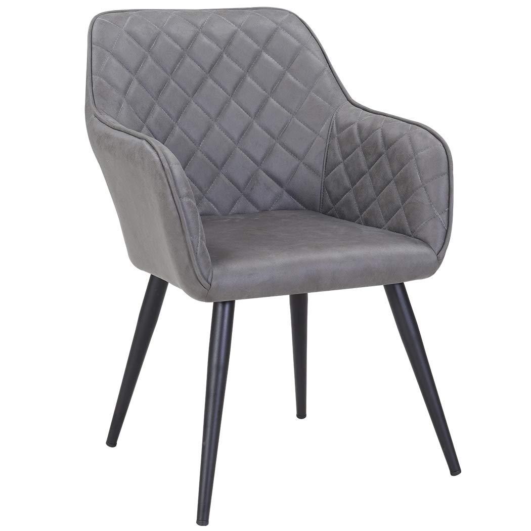 Duhome Esszimmerstuhl aus Stoff Grau Farbauswahl Retro Design Armlehnstuhl Stuhl mit R/ückenlehne Sessel Metallbeine 8058