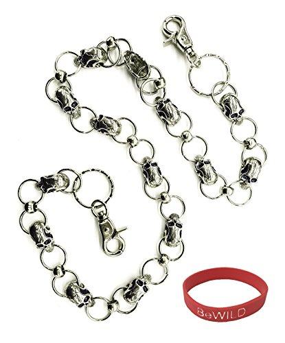 Skull Pile Chain of Skulls Jean Chain - Includes one Bewild Brand Bracelet