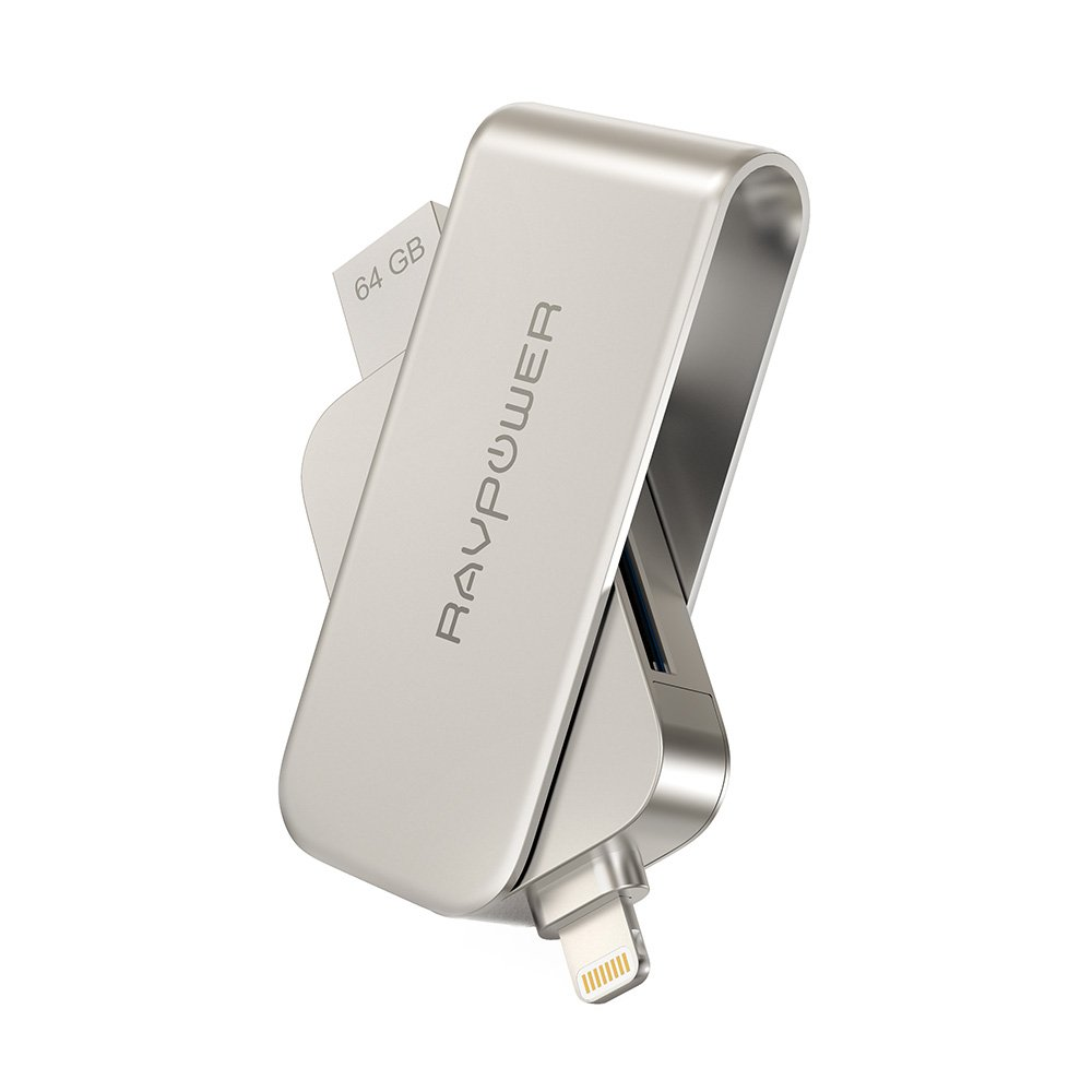 RAVPower 64GB iPhone Flash Drive 2 in 1 SD Card Reader with Memory Stick and USB 3.0 for iPad iPod iOS Device, External Storage Expansion [MFI Certified]