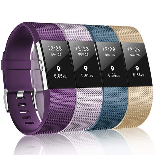 ZEROFIRE Compatible for Fitbit Charge 2 Bands, Adjustable Sport Wrist Bands Strap for Fitbit Charge 2, Women, Men, Pack of 4