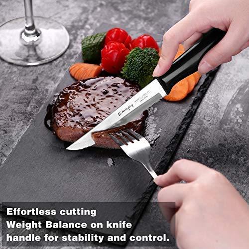 Emojoy Knife Set, 15-Piece Kitchen Knife Set with Block, ABS Handle for Chef Knife Set, German Stainless Steel, by Emojoy (Black) by Emojoy  (Image #7)
