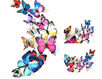 12pcs PVC 3D Butterfly Wall Decor Stickers Art Decals For Home Decoration (Multi  Colour