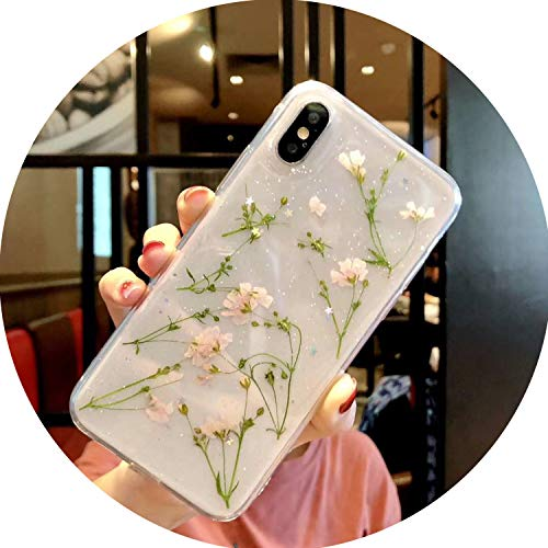 Real Flowers Dried Flowers Soft TPU Back Cover for iPhone X 6 6S 7 8 Plus Case Transparent Phone Case for iPhone XR XS Max Cover,01,for iPhone 8plus