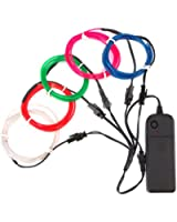 Zitrades EL Wire Super Bright Portable Kits with AA Battery Inverter for Halloween Christmas Party Decoration, White/Blue/Red/Green/Pink
